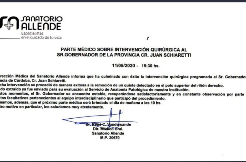 Informe médico de Juan Schiaretti.